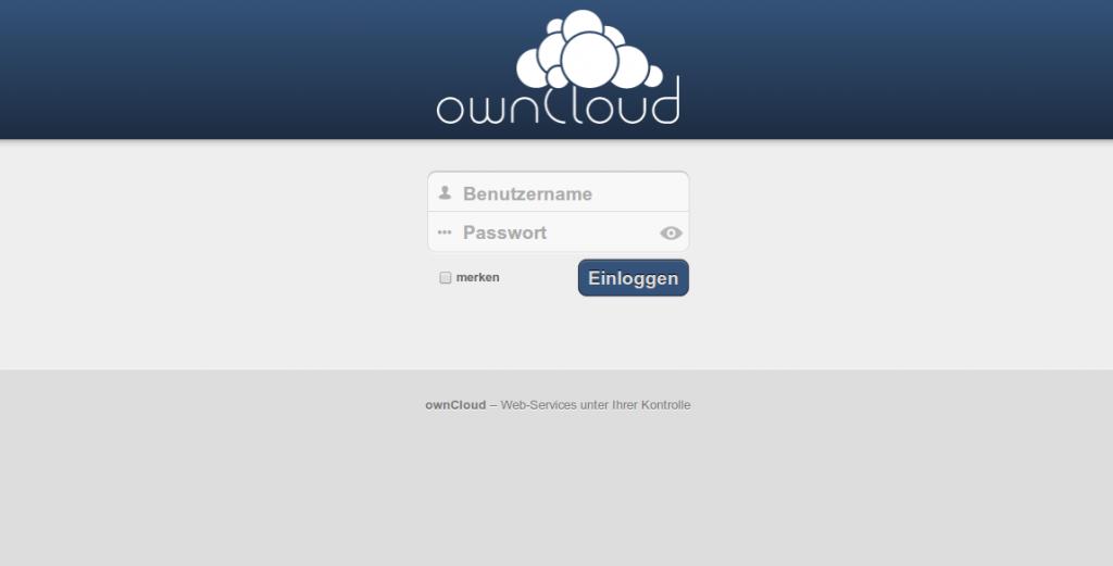 ownCloud 5 Login Screen