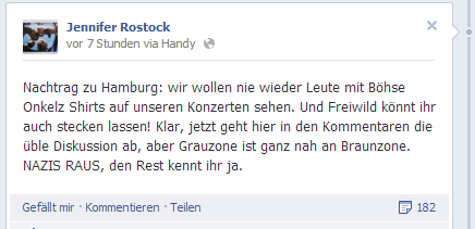 Jennifer Rostock Kommentar auf Facebook