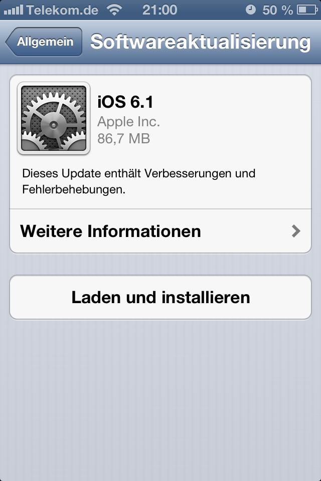 iOS 6.1 Softwareaktualisierung