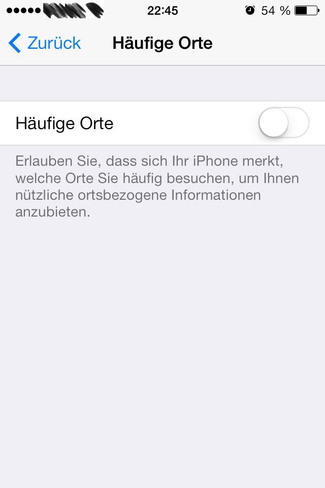 iOS 7 häufige Orte
